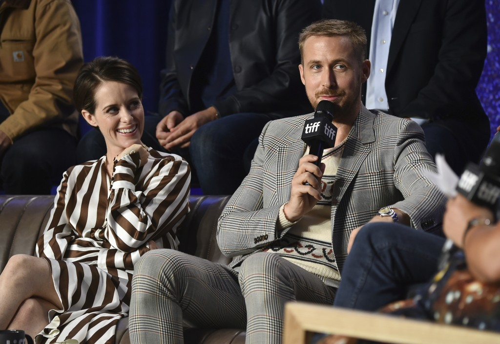 "Actors Claire Foy, left, and Ryan Gosling attend the press conference for ""First Man"" on day 6 of the Toronto International Film Festival, at the TIFF"