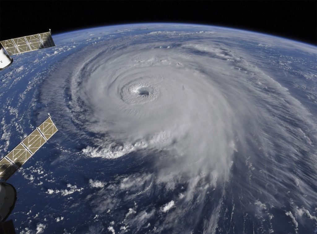 This image provided by NASA shows Hurricane Florence from the International Space Station on Wednesday, Sept. 12, 2018, as it threatens the U.S. East