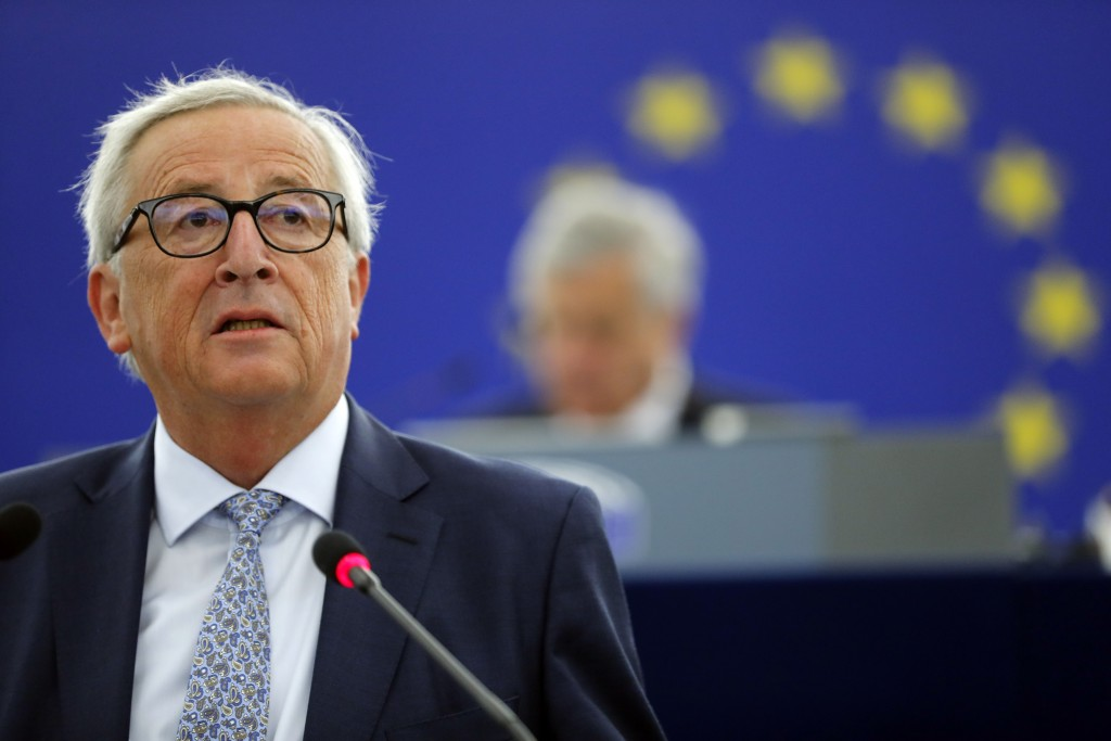 European Commission President Jean-Claude Juncker delivers his State of Union speech at the European Parliament in Strasbourg, eastern France, Wednesd