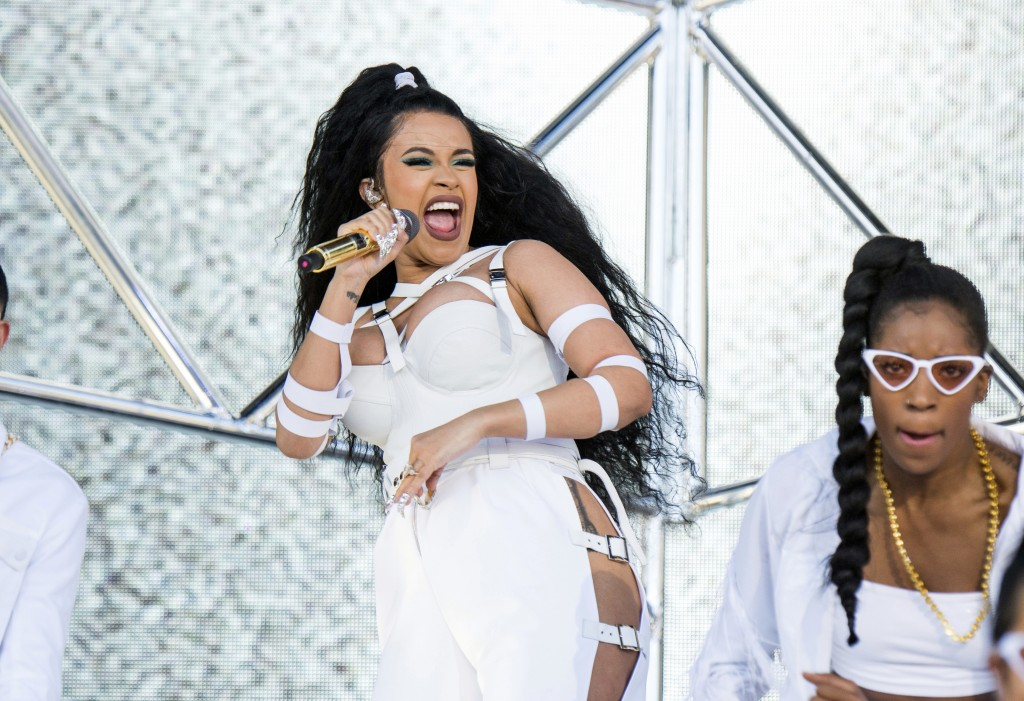 FILE - In this April 22, 2018 file photo, Cardi B performs at the Coachella Music & Arts Festival in Indio, Calif. Rap has easily dominated the pop ch
