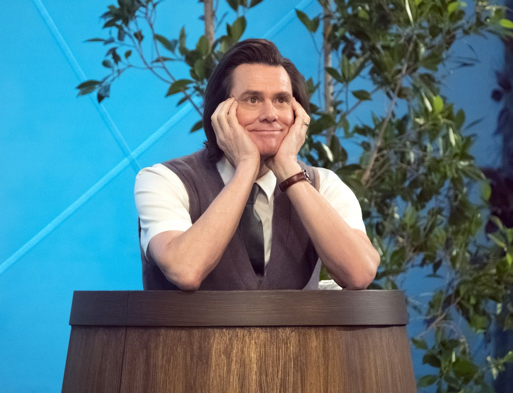 "This image released by Showtime shows Jim Carrey as Jeff Pickles in a scene from the series ""Kidding,"" which debuted on Sept. 9. (Erica Parise/Showtim"