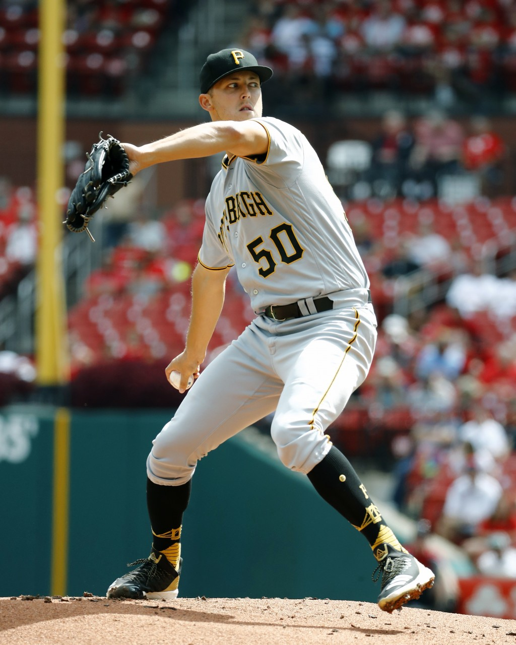 Pittsburgh Pirates starting pitcher Jameson Taillon throws during the first inning of a baseball game against the St. Louis Cardinals Wednesday, Sept....
