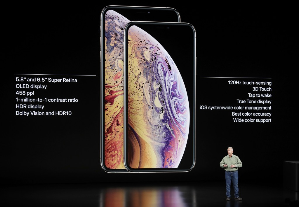 Phil Schiller, Apple's senior vice president of worldwide marketing, speaks about the Apple iPhone XS and Apple iPhone XS Max at the Steve Jobs Theate