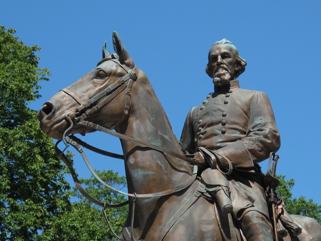 FILE - In this Aug. 18, 2017, file photo, a statue of Confederate Gen. Nathan Bedford Forrest sits in a park in Memphis, Tenn. Relatives of Confederat