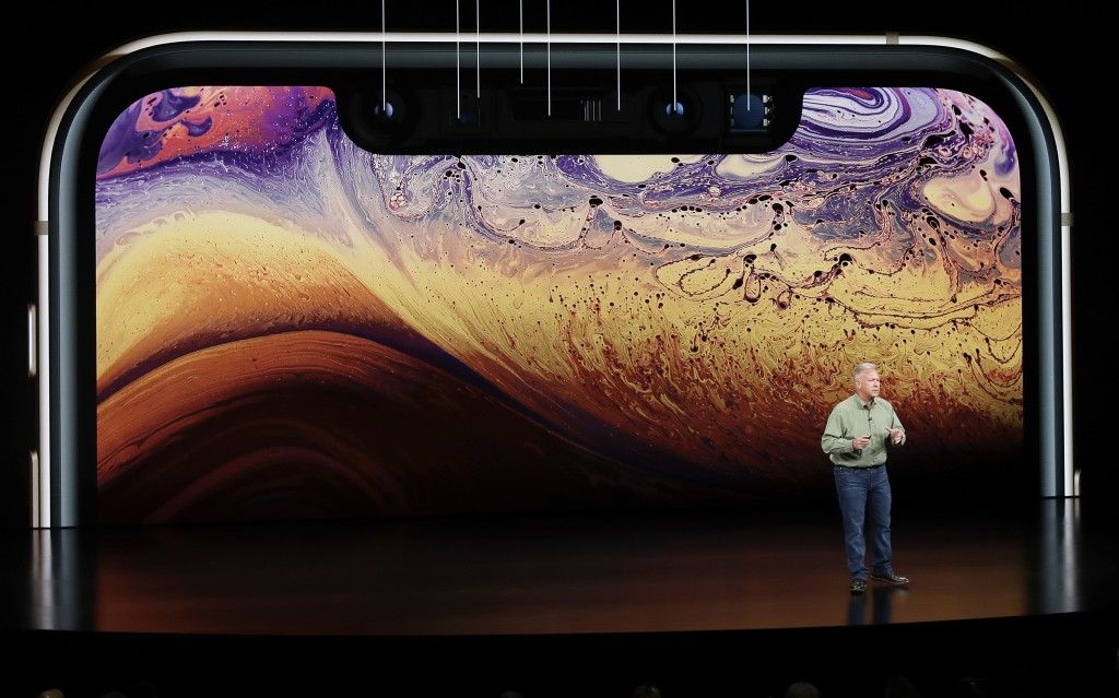 Phil Schiller, Apple's senior vice president of worldwide marketing, speaks about the Apple iPhone XS at the Steve Jobs Theater during an event to ann