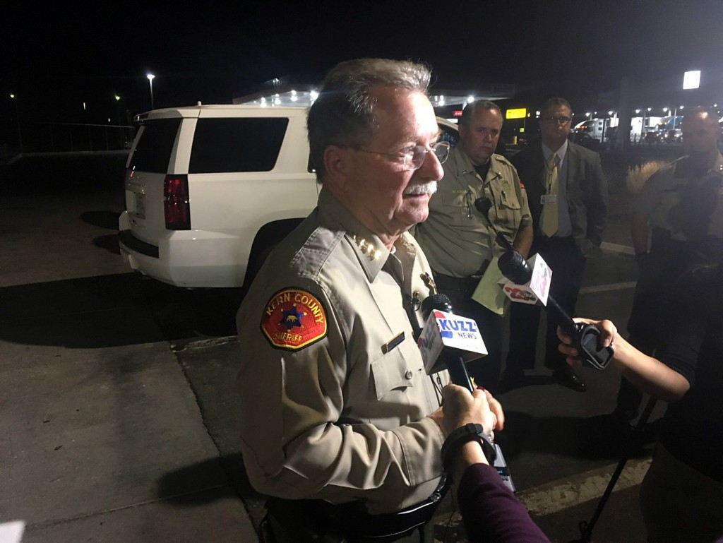 Kern County Sheriff Donny Youngblood talks to the media, Wednesday, Sept. 12, 2018, in southeast Bakersfield, Calif., where authorities say a gunman k