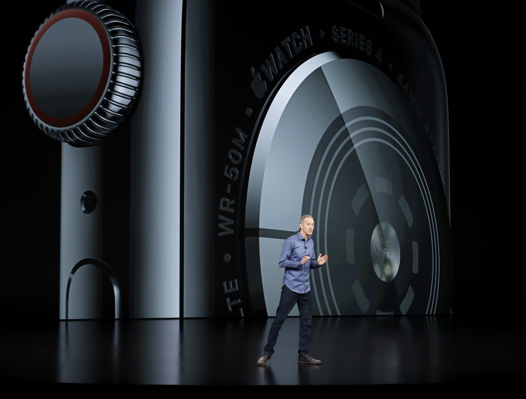 Jeff Williams, Apple's chief operating officer, speaks about the Apple Watch Series 4 at the Steve Jobs Theater during an event to announce new Apple