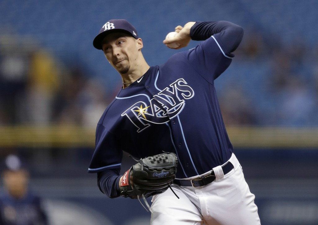 Tampa Bay Rays' Blake Snell pitches to the Cleveland Indians during the first inning of a baseball game Wednesday, Sept. 12, 2018, in St. Petersburg,