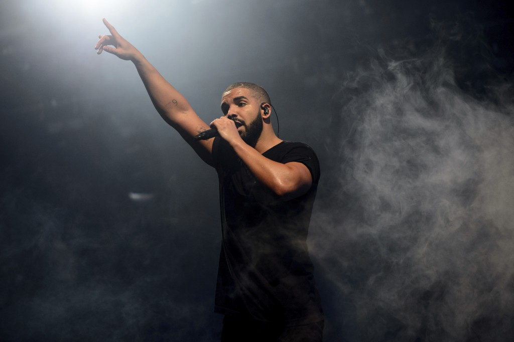 FILE - In this June 27, 2015 file photo, Canadian singer Drake performs on the main stage at Wireless festival in Finsbury Park, London. Rap has easil