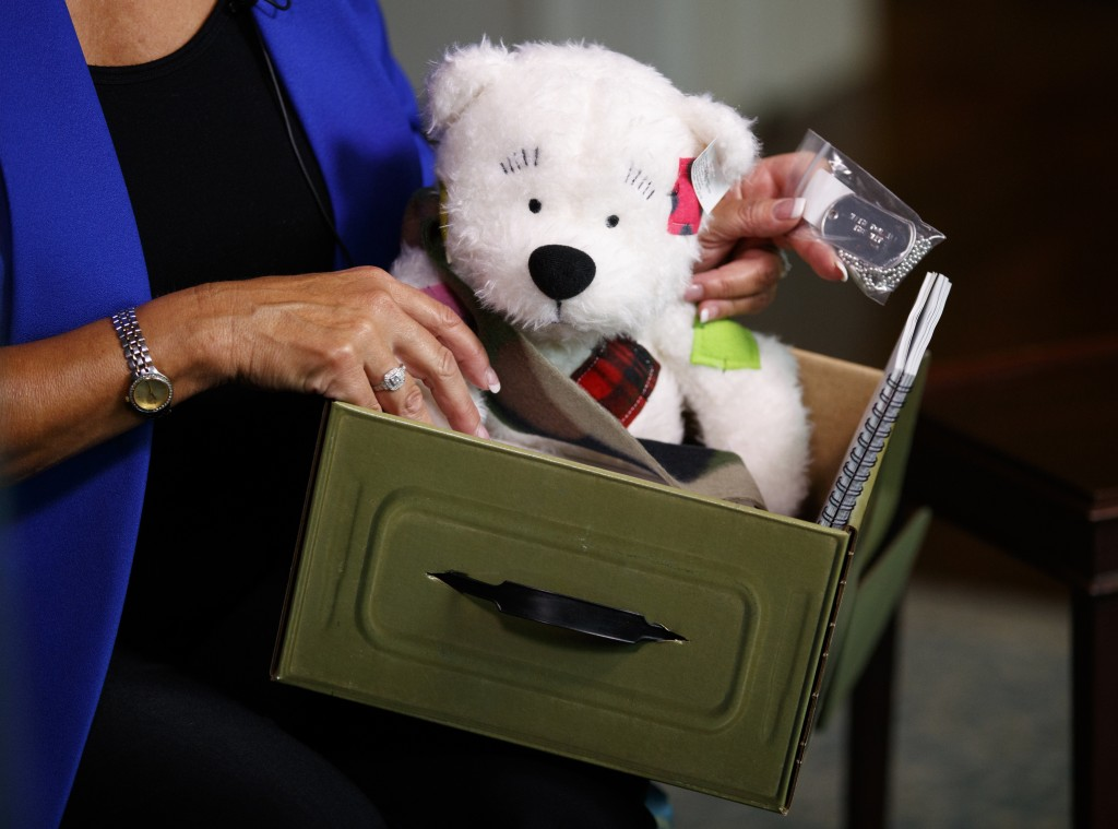 Karen Pence holds a Comfort Crew Kit to be given to a military child during an interview with The Associated Press at the Vice President's residence,