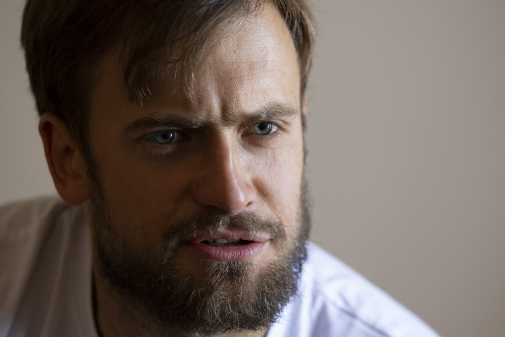 In this photo taken on Friday, Sept. 7, 2018, Pyotr Verzilov, a member of the feminist protest group Pussy Riot speaks during an interview to the Asso...