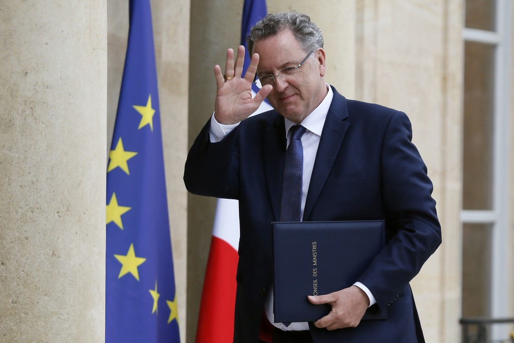 FILE- In this May 18, 2017 file photo, French Social Cohesion minister Richard Ferrand arrives at the Elysee Palace to attend a cabinet meeting, in Pa