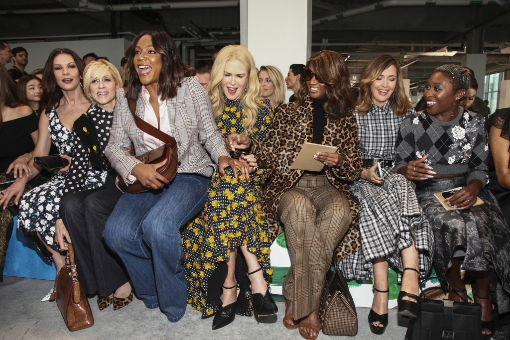 Catherine Zeta-Jones, from left, Judith Light, Tiffany Haddish, Nicole Kidman Iman, Rose Byrne and Cynthia Erivo attend the NYFW Spring/Summer 2019 Mi