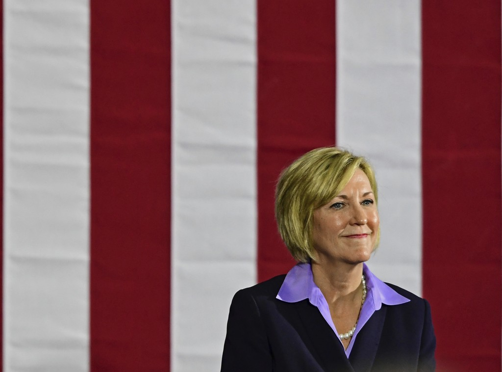 Democratic gubernatorial candidate Richard Cordray's running mate Betty Sutton speaks at a campaign rally, Thursday, Sept. 13, 2018, in Cleveland. For