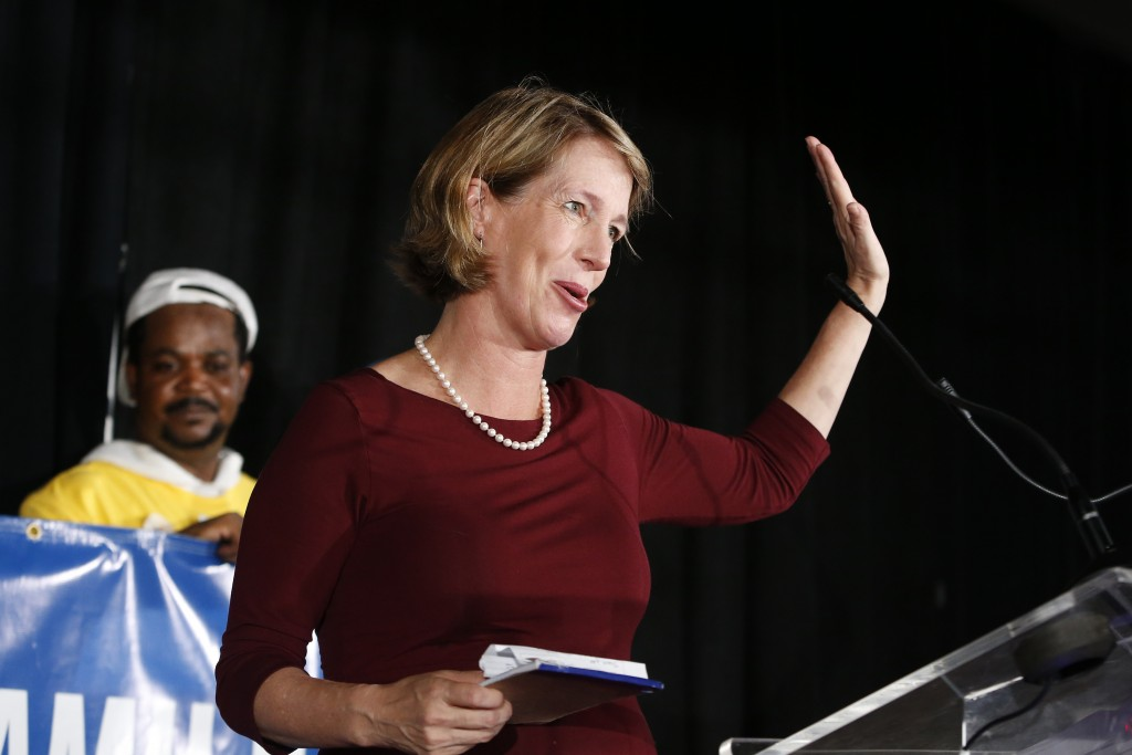 State attorney general candidate Zephyr Teachout delivers her concession speech at the Working Families Party primary night party, Thursday, Sept. 13,