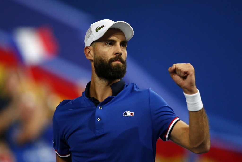 France's Benoit Paire reacts as he plays Spain's Pablo Carreno Busta during the Davis Cup semifinals France against Spain, Friday, Sept.14, 2018 in Li
