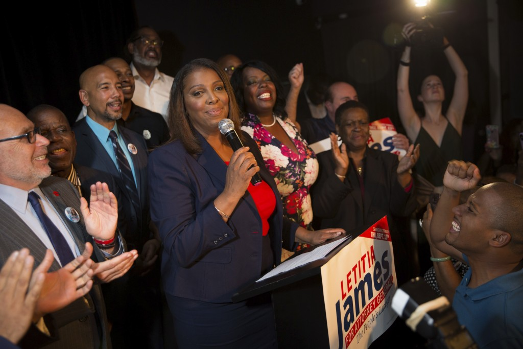 Letitia James delivers a victory speech after winning the primary election for attorney general Thursday, Sept. 13, 2018, in New York. The 59-year-old