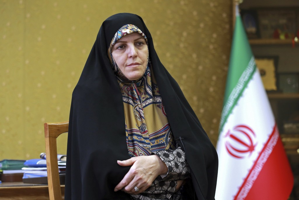In this Saturday, Sept. 8, 2018 photo, Shahindokht Molaverdi, a top adviser to Iran's president on human rights, gives an interview to The Associated