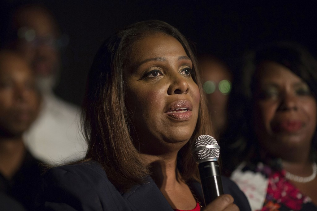 Letitia James delivers a victory speech after winning the primary election for attorney general Thursday, Sept. 13, 2018, in New York. James would bec