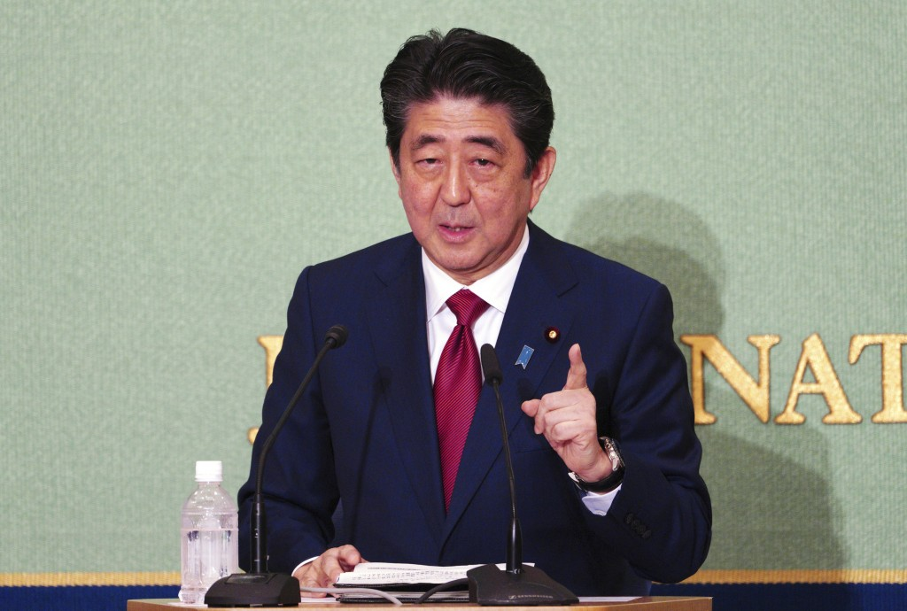 A candidate for president of ruling party Japanese prime minister and head of current party president Shinzo Abe, speaks during a debate ahead of Libe...