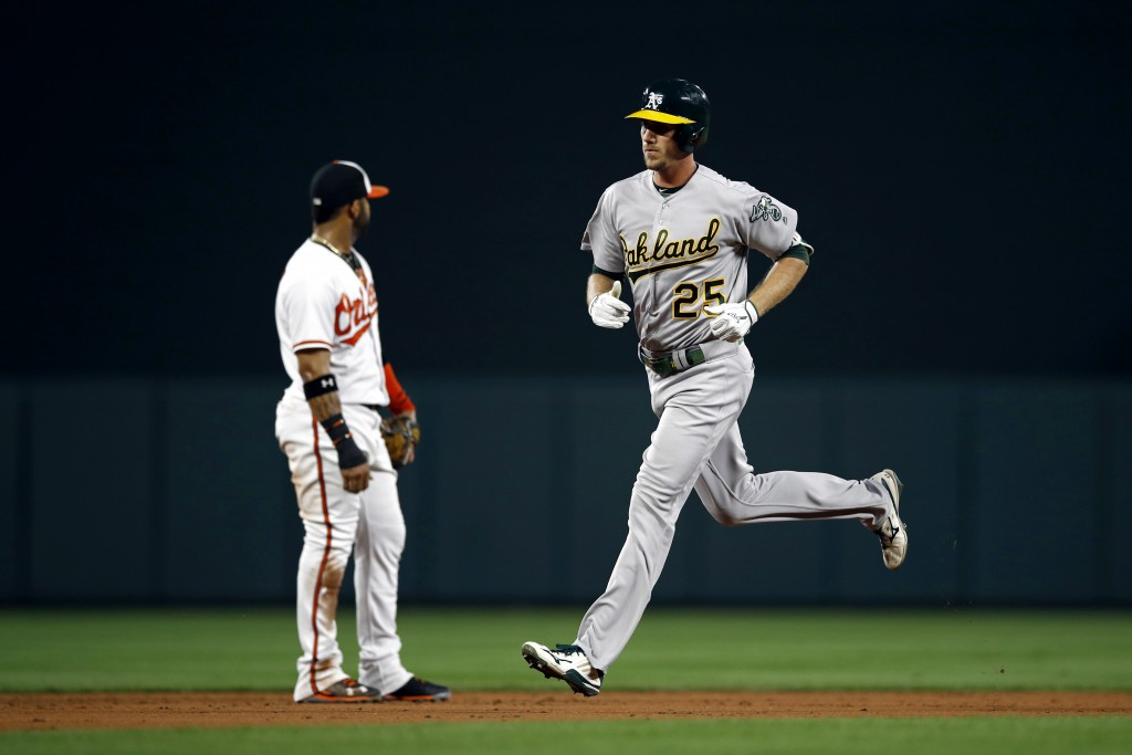 Oakland Athletics' Stephen Piscotty, right, rounds the bases on a solo home run past Baltimore Orioles shortstop Jonathan Villar in the second inning