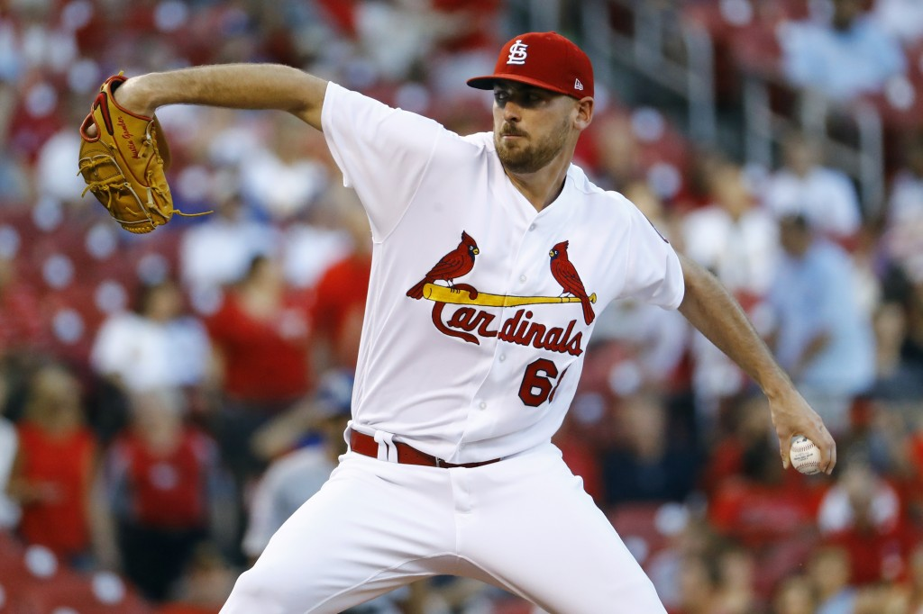 St. Louis Cardinals starting pitcher Austin Gomber throws during the first inning of a baseball game against the Los Angeles Dodgers, Thursday, Sept.