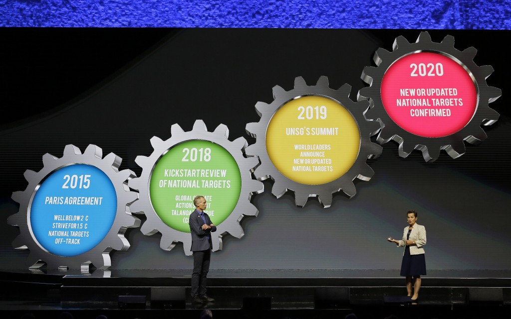 Johan Rockstrom, left, the Executive Director of the Stockholm Resilience Center and Christiana Figueres, Founding Partner, Global Optimism and Conven