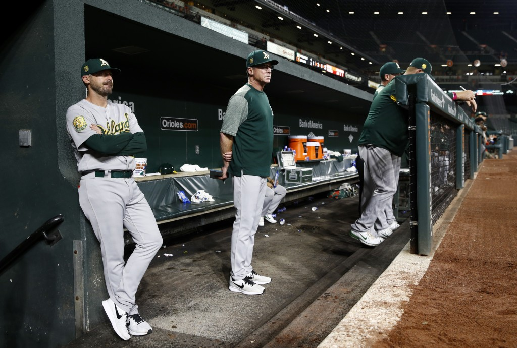 Oakland Athletics manager Bob Melvin, center, stands in the dugout in the second inning of a baseball game against the Baltimore Orioles, Thursday, Se
