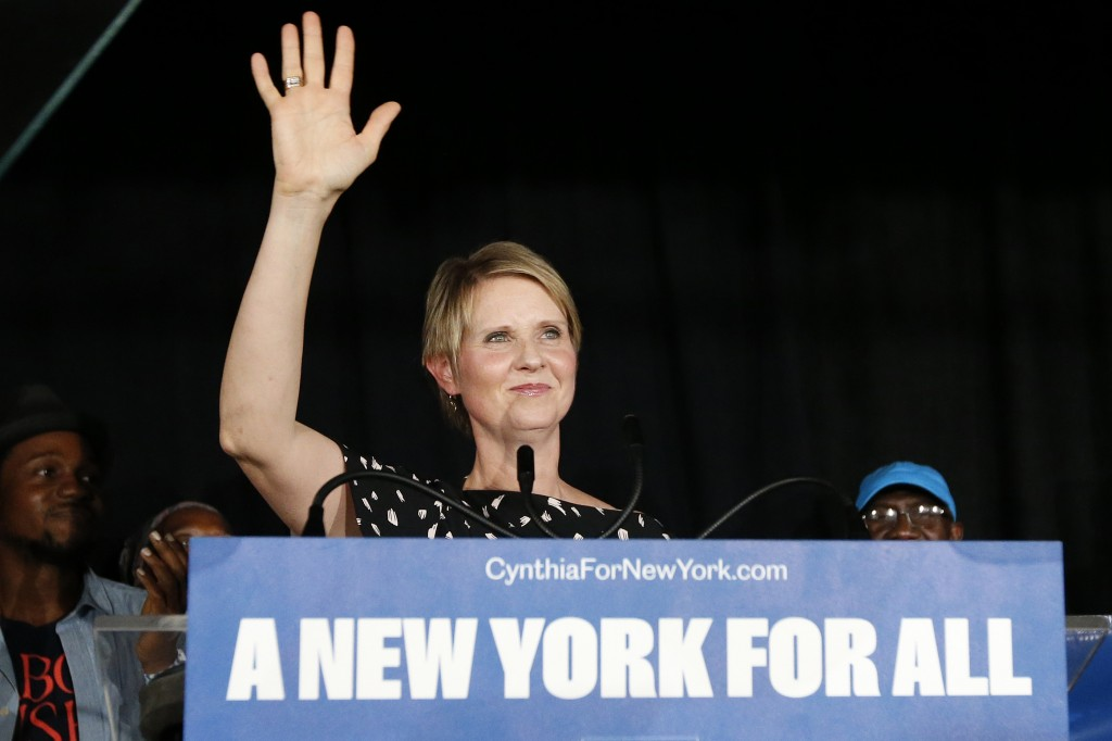 Gubernatorial candidate Cynthia Nixon arrives to deliver her concession speech at the Working Families Party primary night party,Thursday, Sept. 13, 2