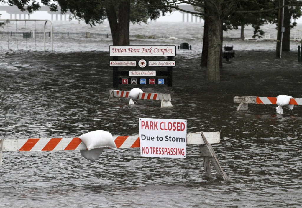 Union Point Park is flooded with rising water from the Neuse and Trent Rivers in New Bern, N.C. Thursday, Sept. 13, 2018. Hurricane Florence already h