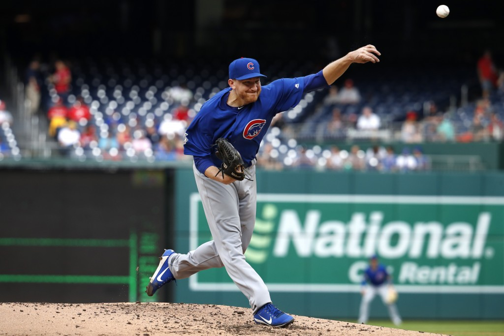 Chicago Cubs pitcher Mike Montgomery delivers in the third inning of a baseball game against the Washington Nationals, Thursday, Sept. 13, 2018, in Wa