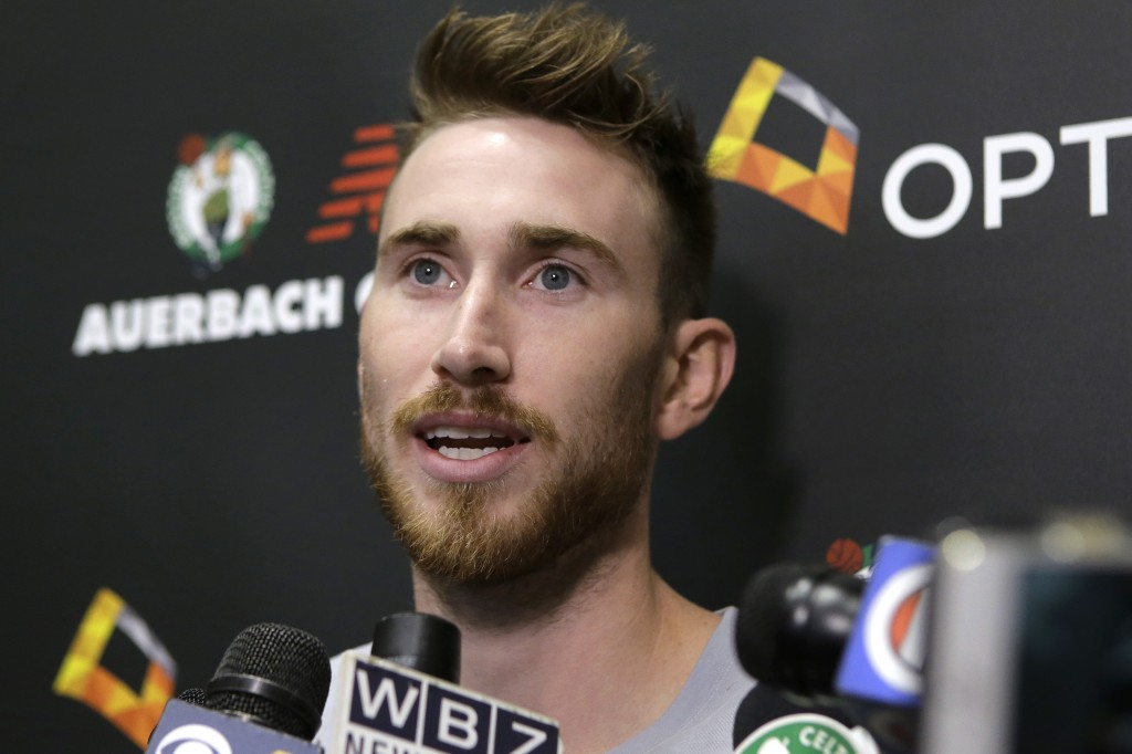 Boston Celtics' Gordon Hayward speaks to members of the media, Thursday, Sept. 13, 2018, at the team's NBA basketball practice facility in Boston. Hay