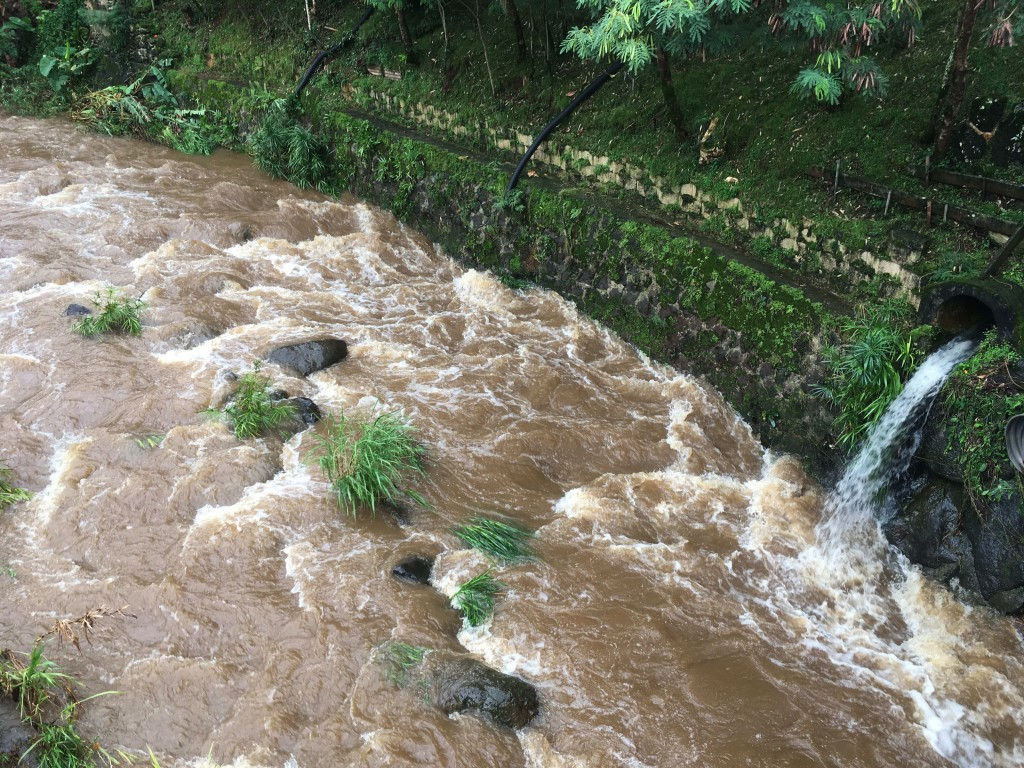 Water rushes through a spillway in a neighborhood below the Nuuanu Dam in Honolulu on Thursday, Sept. 13, 2018. Honolulu officials say they may need t