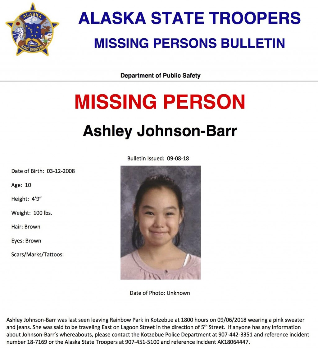 This missing person poster released by Alaska State Troopers shows Ashley Johnson-Barr, who was last seen leaving Rainbow Park in Kotzebue, Alaska, on
