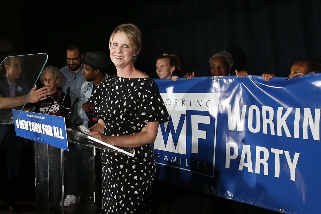 Gubernatorial candidate Cynthia Nixon delivers her concession speech at the Working Families Party primary night party, Thursday, Sept. 13, 2018, in N
