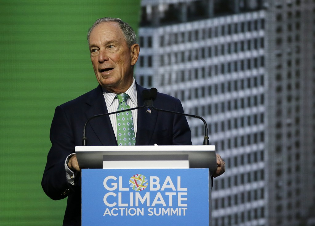 Michael Bloomberg, the UN Secretary-General's Special Envoy for Climate Action, speaks during the plenary session of the Global Action Climate Summit