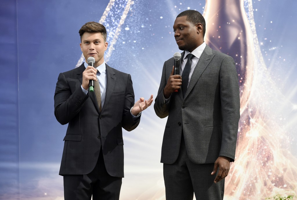 Colin Jost, left, and Michael Che, co-hosts for the 70th Emmy Awards, speak to the media before rolling out the gold carpet outside the Microsoft Thea...