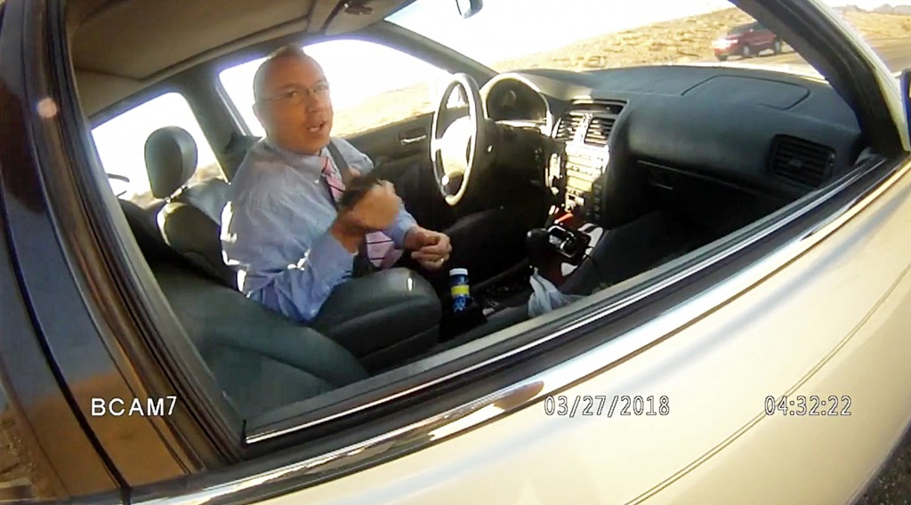 FILE - This file photo from March 27, 2018, law enforcement body camera video from the La Paz County Sheriff's Office shows Arizona state Rep. Paul Mo
