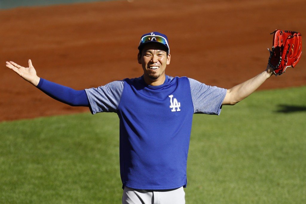 Los Angeles Dodgers' Kenta Maeda warms up prior to a baseball game against the St. Louis Cardinals, Thursday, Sept. 13, 2018, in St. Louis. (AP Photo/