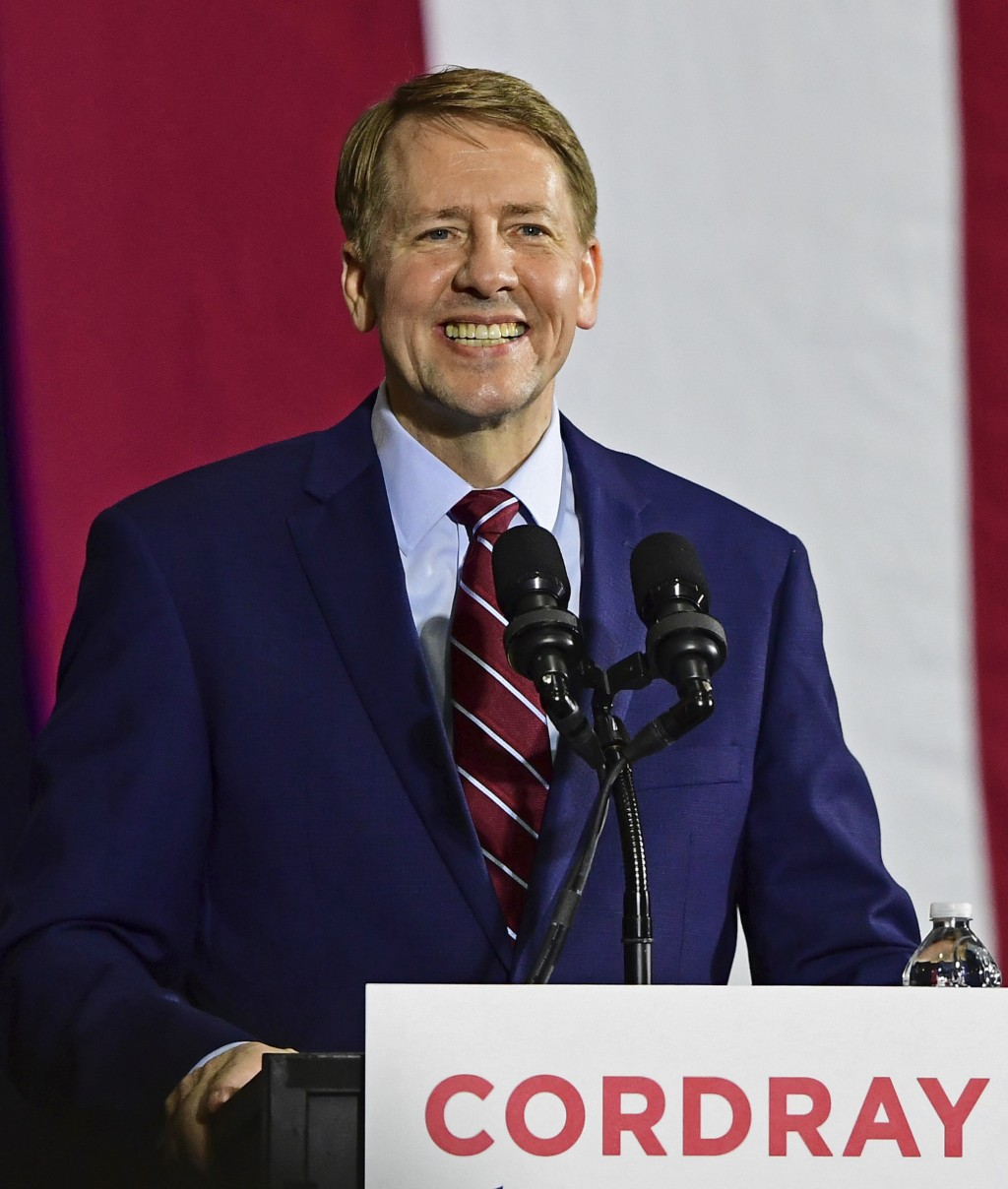 Democratic gubernatorial candidate Richard Cordray speaks at a campaign rally, Thursday, Sept. 13, 2018, in Cleveland. (AP Photo/David Dermer)