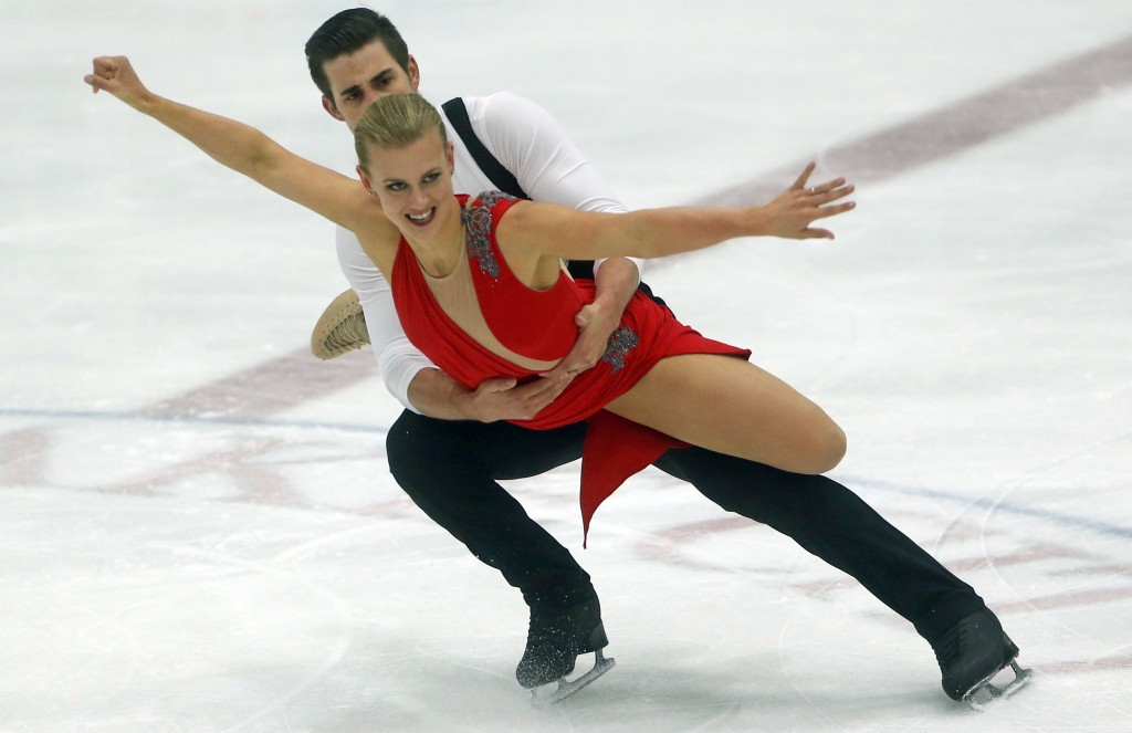 Madison Hubbell and Zachary Donohue, of the of United States, skate during the ice dance practice at the U.S. International Figure Skating Classic, Th