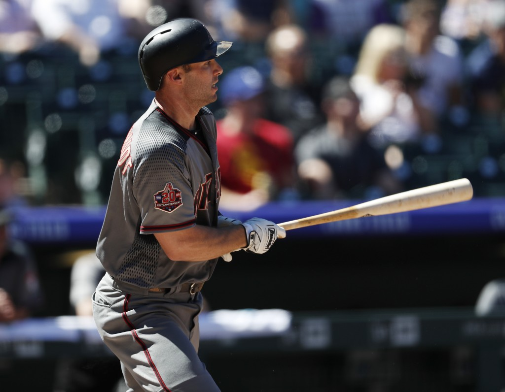 Arizona Diamondbacks' Paul Goldschmidt grounds out against Colorado Rockies starting pitcher Kyle Freeland in the first inning of a baseball game Thur