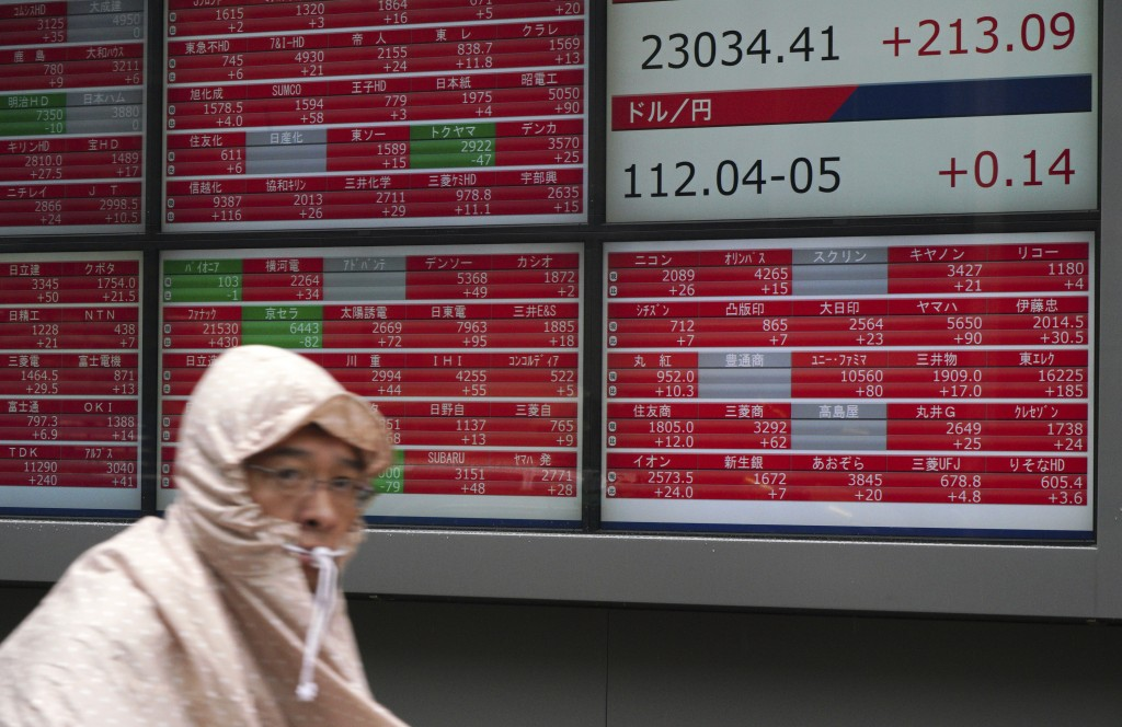 A man rides a bicycle past an electronic stock board showing Japan's Nikkei 225 index at a securities firm in the rain in Tokyo Friday, Sept. 14, 2018