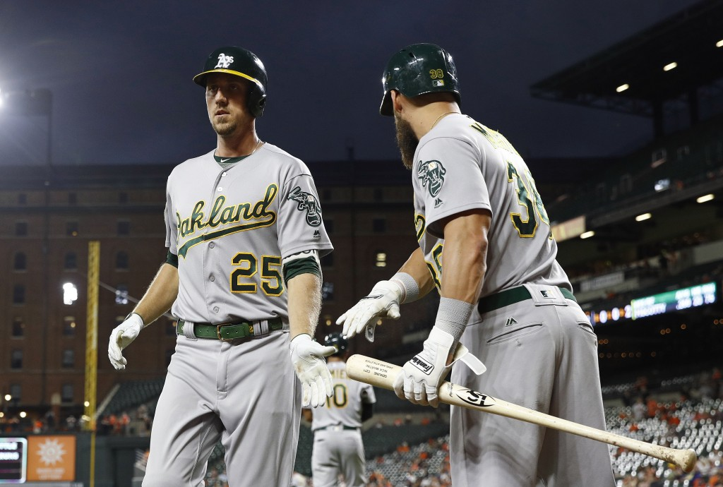 Oakland Athletics' Stephen Piscotty, left, celebrates his solo home run with teammate Nick Martini in the second inning of a baseball game against the
