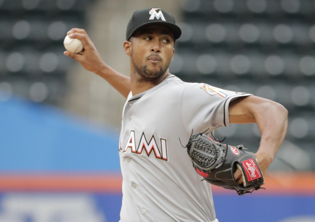 Miami Marlins' Sandy Alcantara delivers a pitch during the first inning in the first baseball game of a doubleheader against the New York Mets, Thursd