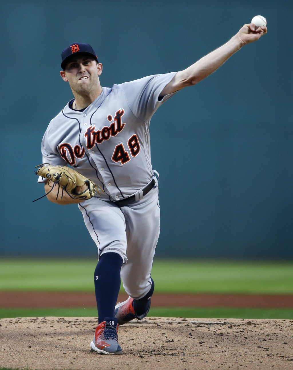 Detroit Tigers starting pitcher Matthew Boyd delivers against the Cleveland Indians during the first inning of a baseball game, Friday, Sept. 14, 2018