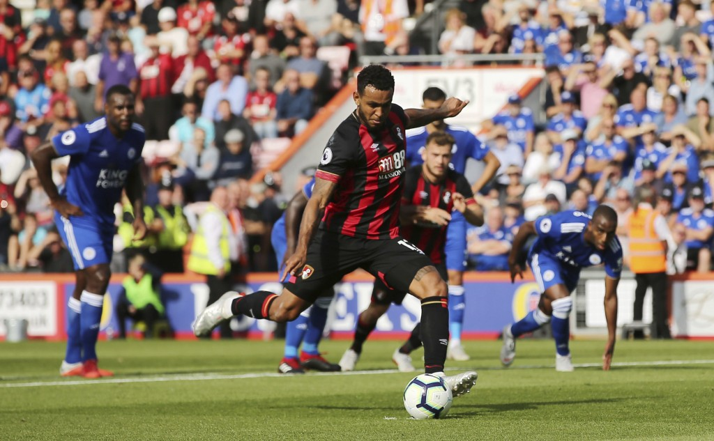 Bournemouth's Joshua King scores his side's third goal of the game from a penalty, during the English Premier League soccer match between Bournemouth