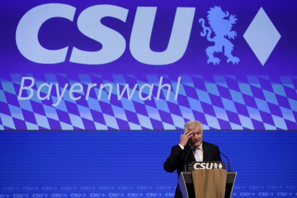 German Interior Minister and chairman of the German Christian Social Union party Horst Seehofer delivers a speech at a party convention of the CSU in