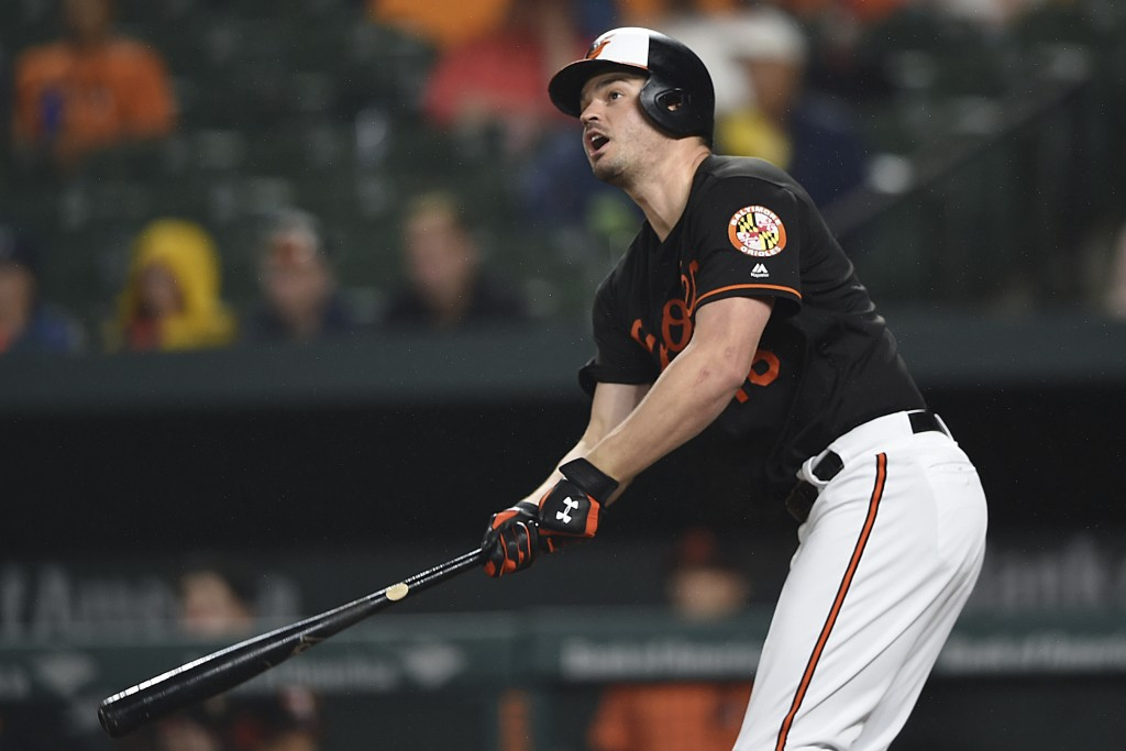 Baltimore Orioles' Trey Mancini follows through on a solo home run against the Chicago White Sox in the fourth inning of a baseball game, Friday, Sept...