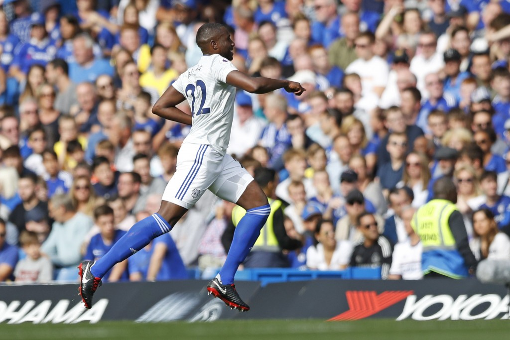 Cardiff City's Sol Bamba celebrates scoring the opening goal during their English Premier League soccer match between Chelsea and Cardiff City at Stam
